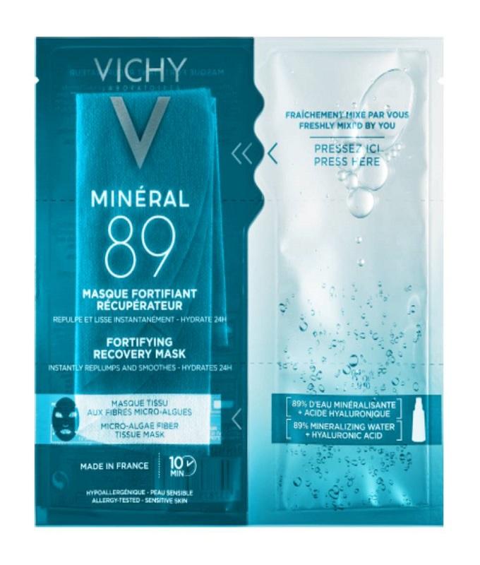 Vichy Mineral 89 Fortifying Instant Recovery Mask, Μάσκα Ενδυνάμωσης & Επανόρθωσης Με Ιαματικό Μεταλλικό Νερό & Υαλουρονικό Οξύ, 29g