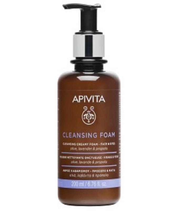 APIVITA Κρεμώδης αφρός καθαρισμού για πρόσωπο & μάτια, για όλους τους τύπους επιδερμίδας με ελιά & λεβάντα (200ml)