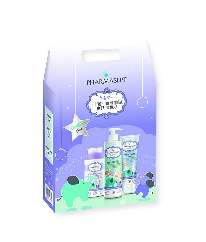 PHARMASEPT CHRISTMAS GIFT BABY PACK Mild Bath 500ml, Micellar Water 300ml και Tol Velvet Baby Care Extra Calm Cream 150ml