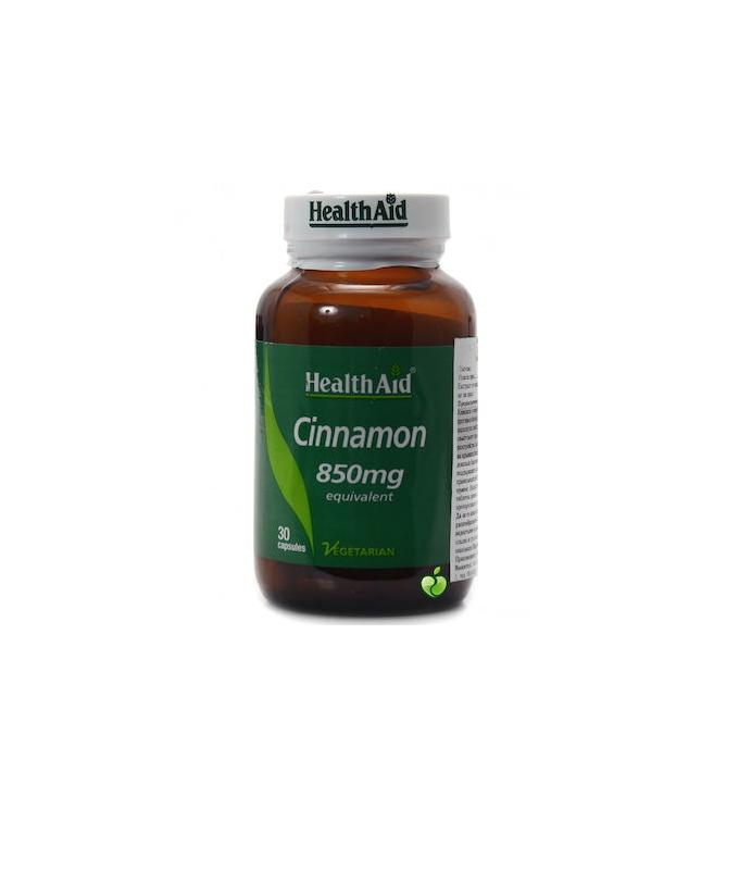 Health Aid Cinnamon 850mg Συμπλήρωμα Διατροφής με Κανέλα για τη Διατήρηση των Φυσιολογικών Επιπέδων Γλυκόζης 30caps