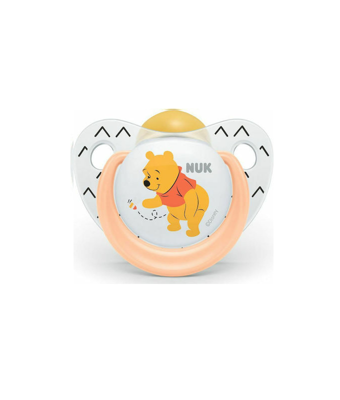 Nuk Tredline Disney Winnie Πιπίλα Καουτσούκ 0-6m με Θήκη Πορτοκαλί 1τμχ