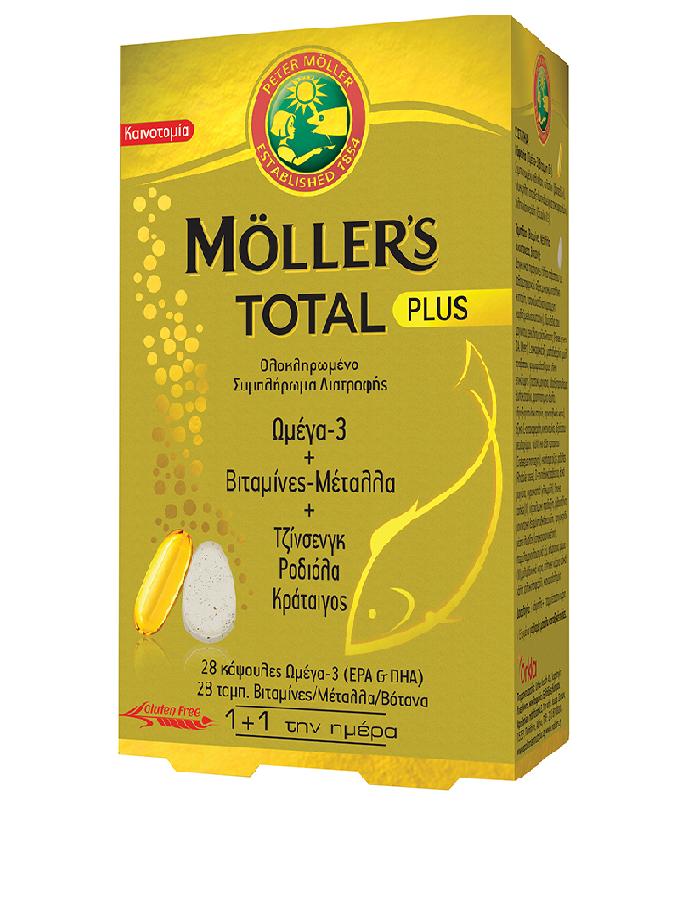 Mollers Moller's Total Plus Συμπλήρωμα Διατροφής με Ωμέγα 3 Βιταμίνες Μέταλλα & 3 Καταξιωμένα Βότανα, (28 caps + 28 tabs)