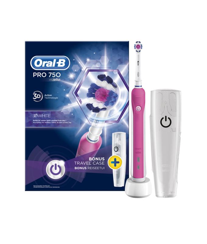 ORAL-B PRO 750 3D WHITE PINK & ΔΩΡΟ ΘΗΚΗ ΤΑΞΙΔΙΟΥ BOX