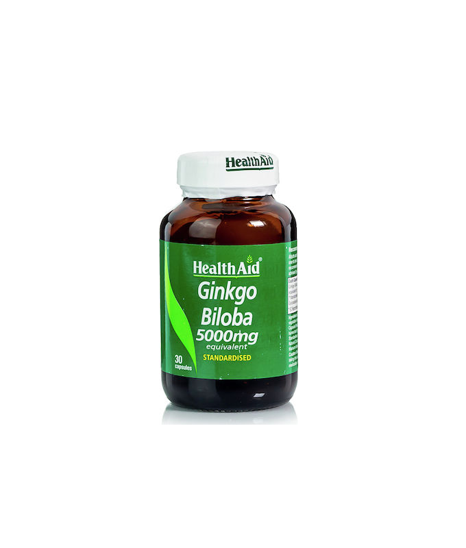 Health Aid Ginkgo Biloba για την ενίσχυση της μνήμης & της συγκέντρωσης 5000mg 30 κάψουλες