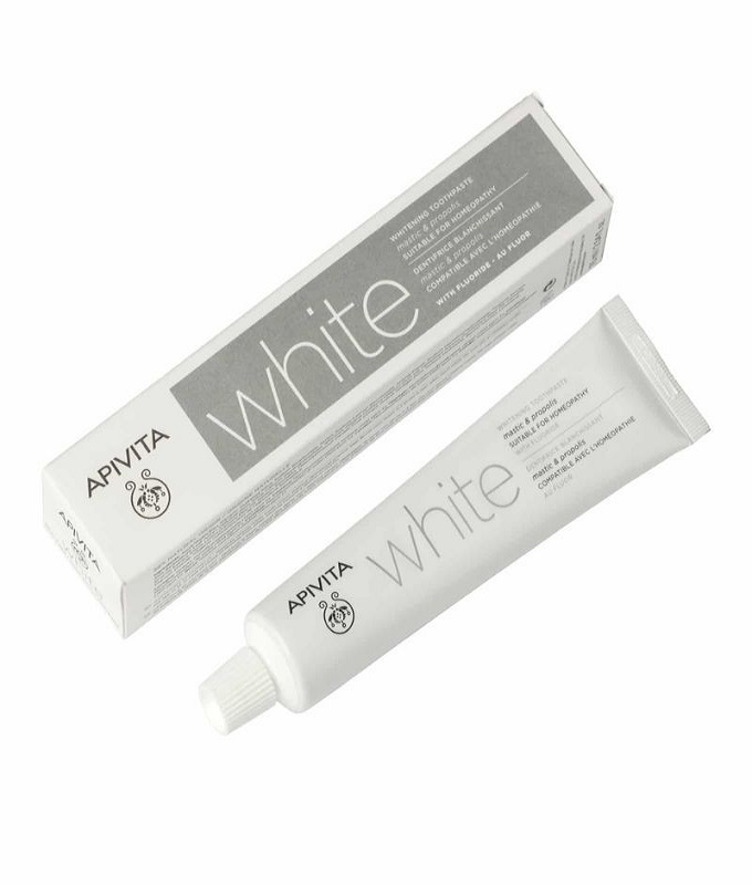 Apivita Natural Dental Care White Λευκαντική Οδοντόκρεμα με Γεύση Μαστίχας, 75ml