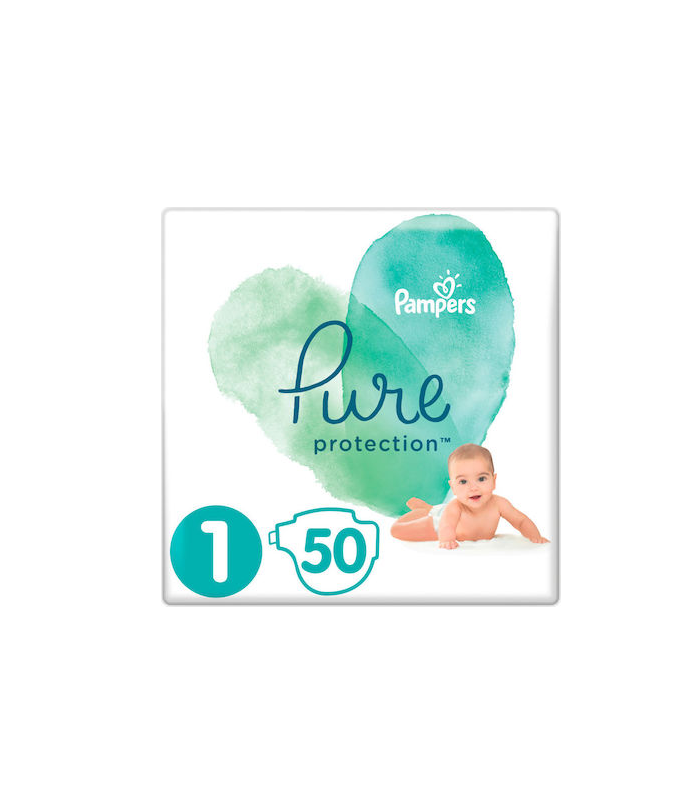 Pampers Pure Protection No1 (2-5kg) Βρεφικές Πάνες 50τμχ