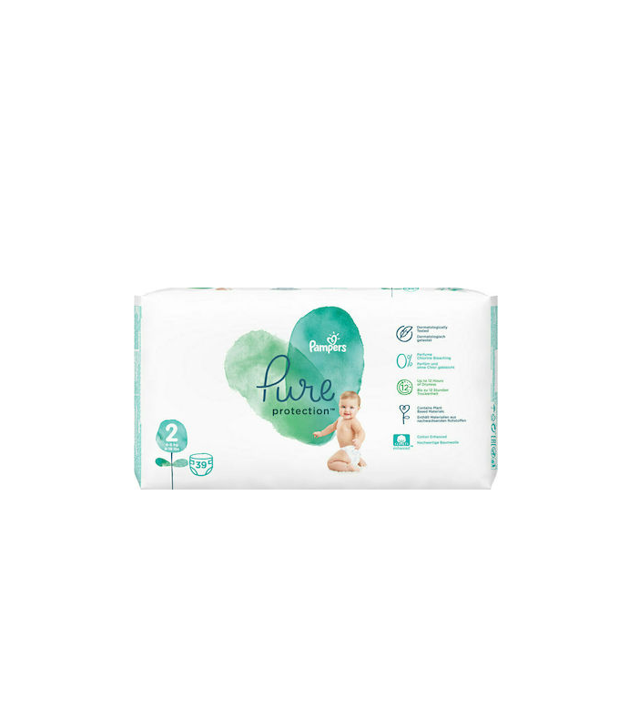 Pampers Pure Protection No 2 (4-8kg) Βρεφικές Πάνες 39τμχ