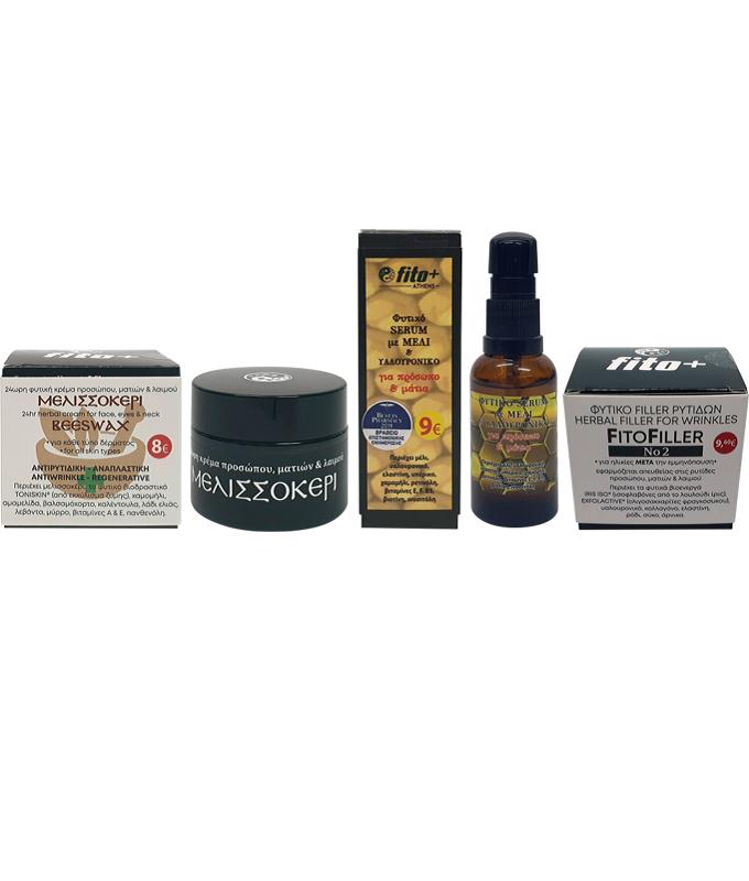 FITO+ ΠΑΚΕΤΟ ΜΕΛΙΣΣΟΚΕΡΙ, 24ωρη κρέμα προσώπου, ματιών & λαιμού ΜΕΛΙΣΣΟΚΕΡΙ,Φυτικό serum προσώπου & ματιών ΜΕΛΙ & ΥΑΛΟΥΡΟΝΙΚΟ, Φυτικός ορός (filler-γέμισμα ρυτίδων) προσώπου, ματιώ