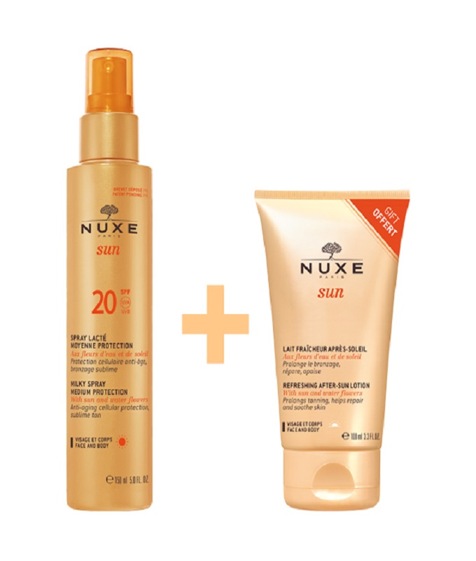 NUXE Sun Milky Spray for Face & Body SPF20 150ml & ΔΩΡΟ Sun Refreshing After-Sun Lotion for Face & Body 100ml