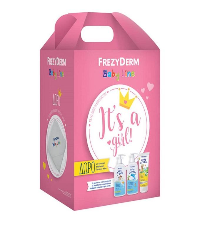 Frezyderm Promo It's A Girl Baby Bath 300ml & Baby Shampoo 300ml & Baby Cream 175ml & ΔΩΡΟ Βαμβακερή Πετσέτα-Κάπα