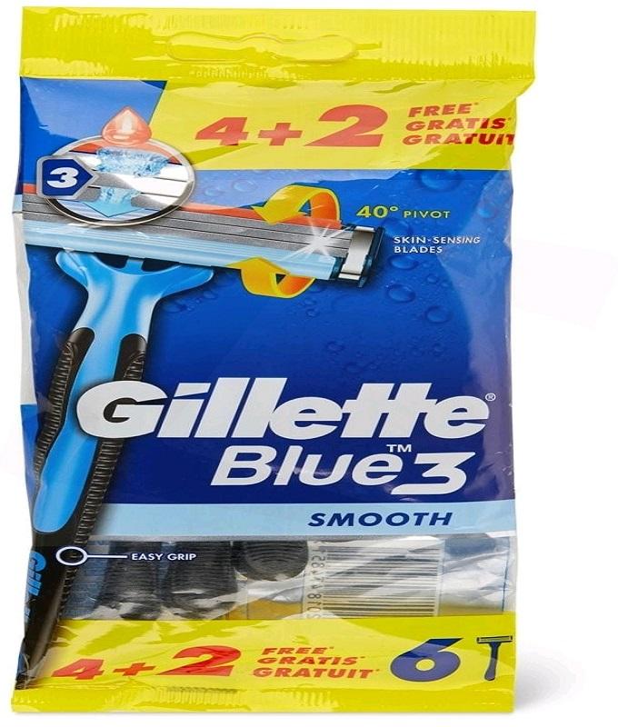 Gillette Blue 3 Ξυραφάκια μιας χρήσης, (4+2 ΔΩΡΟ) τεμάχια