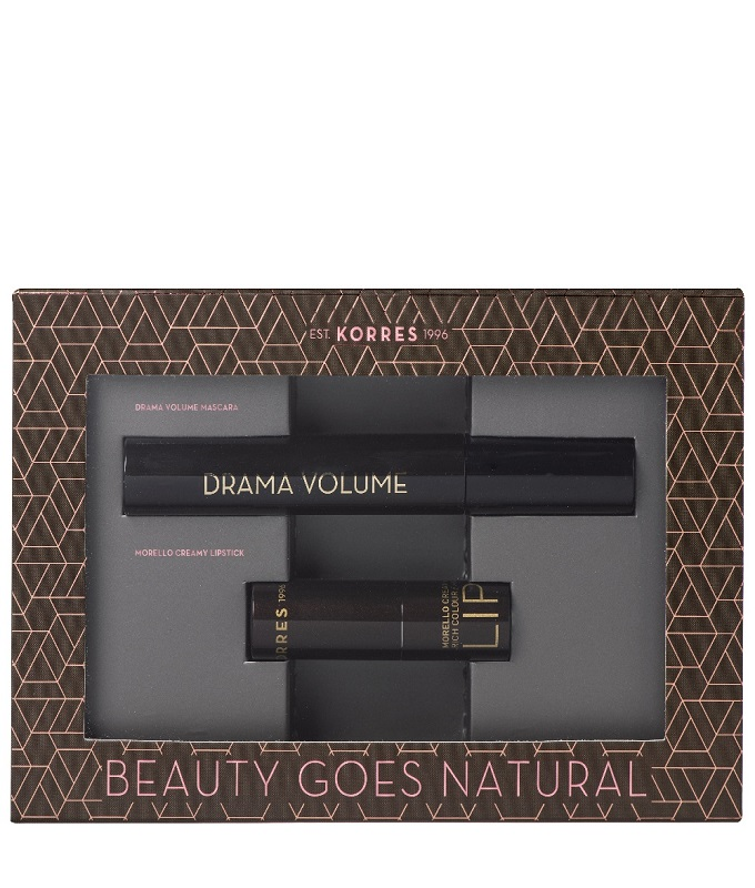 Korres Promo Volcanic Minerals Drama Volume Mascara 01 Black 11ml & Morello Creamy Lipstick 23 Natural Purple 3.5gr