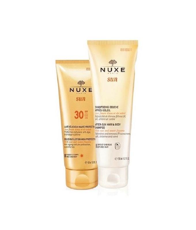 Nuxe PROMO PACK Delicious Lotion High Protection SPF30 Αντηλιακό Γαλάκτωμα 150ml & ΔΩΡΟ Sun After-Sun Hair & Body Shampoo Σαμπουάν-Αφρόλουτρο για Μετά τον Ήλιο 200ml.