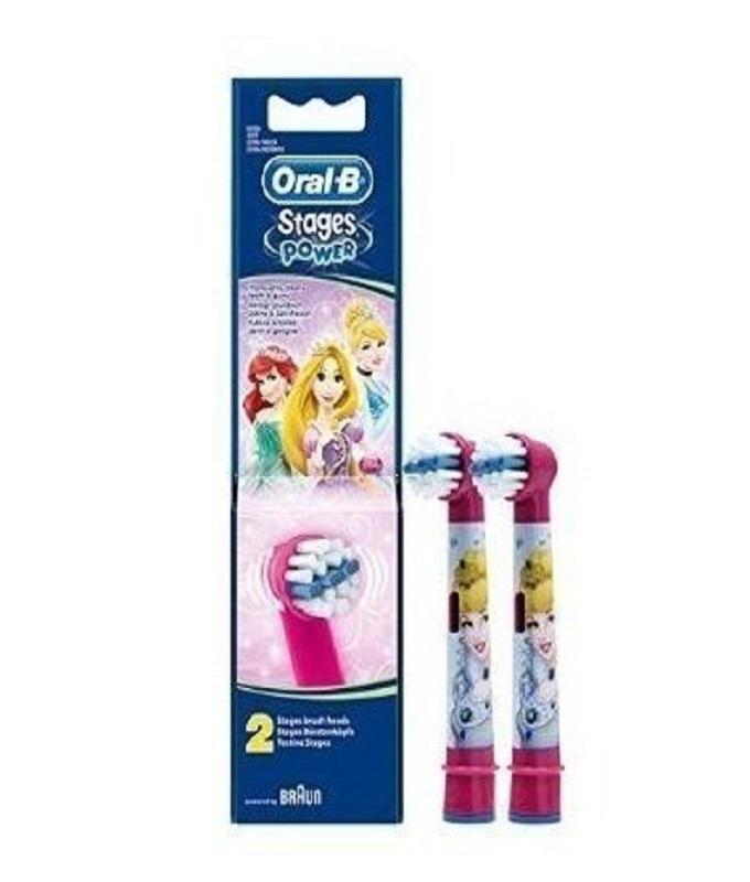 OralB Stages Power Kids Princesses Ανταλλακτικα Παιδικης Ηλεκτρικης Οδοντοβουρτσας, 2 τεμάχια