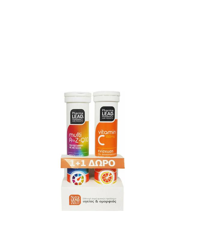 Pharmalead Multi+ A-Z & Q10 20 αναβράζοντα δισκία & Vitamin C 550mg 20 αναβράζοντα δισκία