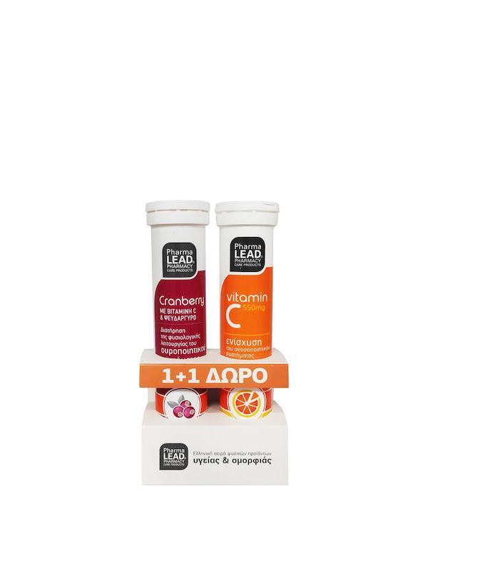 Pharmalead Cranberry 20 αναβράζοντα δισκία Φρούτα του Δάσους & Δώρο Vitamin C 550mg 20 αναβράζοντα δισκία Πορτοκάλι