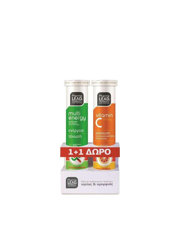 Pharmalead  Multi Energy 20 αναβράζοντα δισκία Mix Φρούτων & Vitamin C 550mg 20 αναβράζοντα δισκία Πορτοκάλι