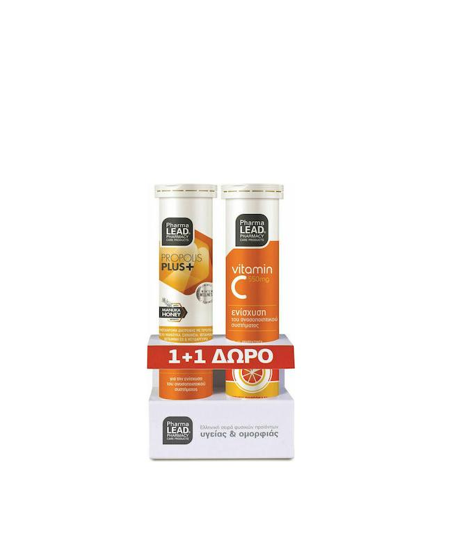 Pharmalead Propolis Plus+ with Manuka Honey & Vit C550mg 20 + 20 αναβράζοντα δισκία
