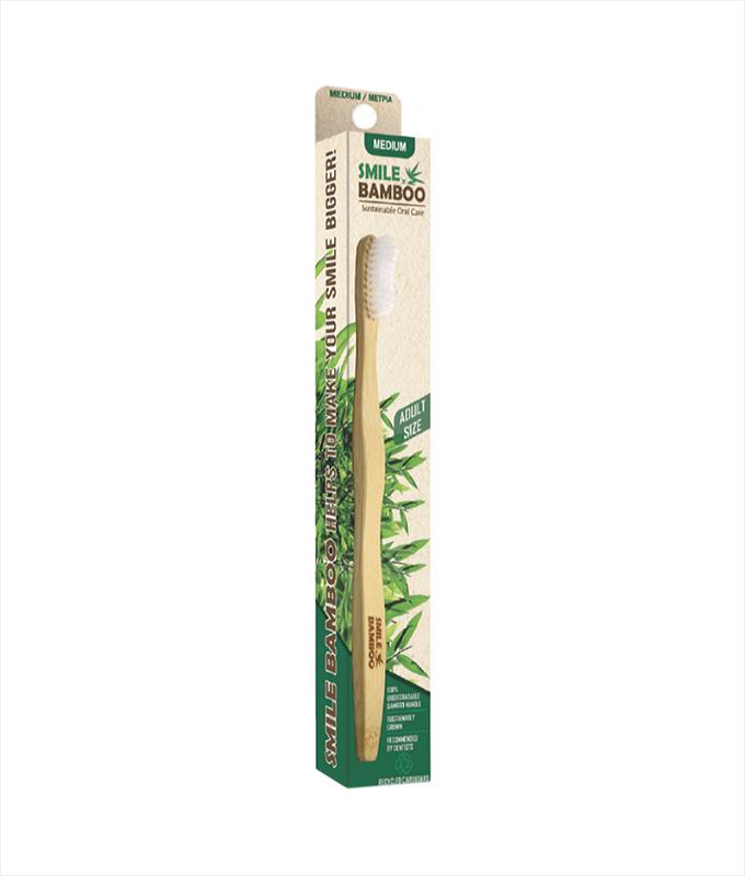 Bamboo Smiles Οδοντόβουρτσα Ενηλίκων Λευκή Μέτρια