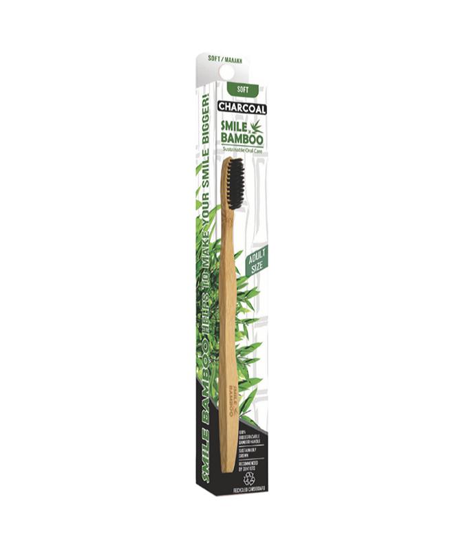Smile Bamboo Οδοντόβουρτσα Μαύρη με Άνθρακα Μαλακή