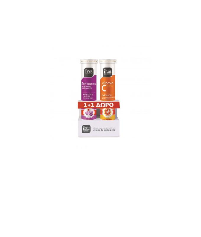 NutraLead 1+1 Δώρο Vitorgan NutraLead Echinacea Vitamin C Zinc + Vitamin C 550mg 2x 20 αναβράζοντα δισκία